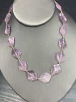 "Vintage bohemian flat Beaded Purple  Opaque Geometric  colored necklace 16"""
