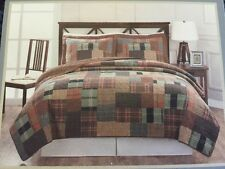 American Traditions Patchwork Flannel Brown Plaids Standard Pillow Shams Set 2