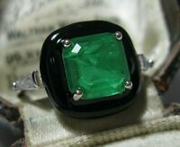 Geometrical Art Deco Style Sterling Silver Emerald Crystal Enamel RING 6.75 N1/2