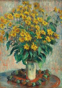 Jerusalem Artichoke Flowers (1880) Claude Monet Still Life wall art poster print