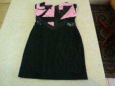 Women's MAURIE AND EVE Size 6 AU Strapless Mini Dress Black Pink Sequins GCond