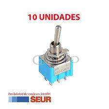 10X Mini-Interruptor de Palanca 6 Pin Azul SPDT ON-OFF-ON 6A 125VAC