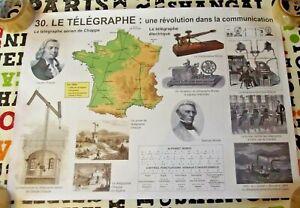 Objet de Métier Affiche Scolaire le Télégraphe le Morse et le canal de Suez