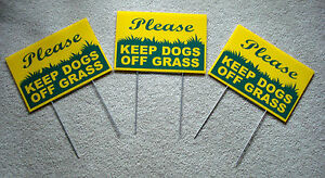 """3 PLEASE KEEP DOGS OFF GRASS  8""""X12"""" Plastic Coroplast Signs w/Stake  NEW yellow"""