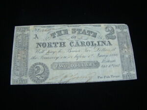 1861 The State Of North Carolina $2.00 Banknote Fine+ Pick#S2326a