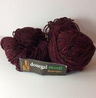 Tahki Yarn Donegal Tweed Homespun Lot Of 3 Skeins 874 Red Purple Bulky Wool