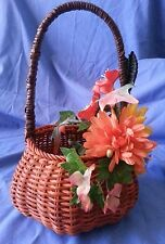 F11  Silk Fall Flower Arrangement on a Pumpkin Wicker Basket - Fall Holidays