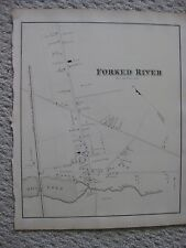 SUPERB RARE ANTIQUE 1878 FORKED RIVER NEW JERSEY HANDCOLORED MAP DETAILED FINE