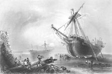 BRITISH ROYAL NAVY FRIGATE BOAT SHIPWRECKS AT MARGATE ~ 1840 Art Print Engraving