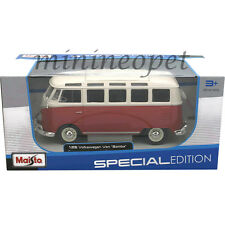 MAISTO 31956 VW VOLKSWAGEN VAN SAMBA BUS 1/25 DIECAST MODEL CAR RED CREAM