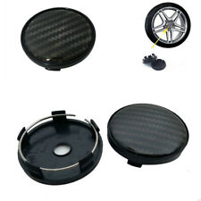 4Pcs Black Carbon Fiber Auto Car Wheel Hub Center Caps Cover 60mm Plastic
