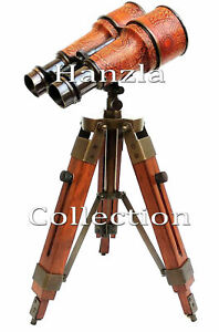 Nautical Brass Binocular Leather Vintage Binocular On Wooden Stand Christmas