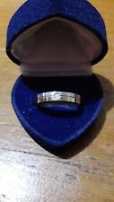 Stainless steel unisex bi-color ring with one cubic zirconia stone *PVD coated*