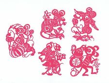 Chinese Paper Cuts Mouse Set Red Color 10 small single pieces Zhou