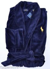 RALPH LAUREN POLO MEN LOUNGE PLUSH BATH ROBE SAUNA BIG PONY NAVY GIFT L XL XXL