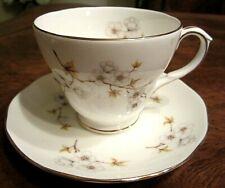 VINTAGE DUTCHESS WHITE PORCELAIN FLORAL TEA CUP & SAUCER, ENGLAND