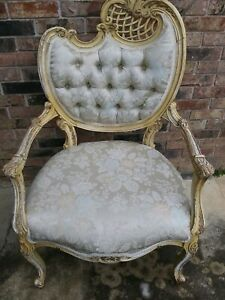 Pair Vintage French Provincial Louis XVI Rococo White Heart Tufted Chairs