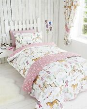 DOUBLE BED DUVET COVER SET HORSE SHOW PONY STARS DAISY REVERSIBLE PINK WHITE