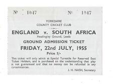 1955 - England v South Africa, 4th Test Match (Headingley) Ticket.
