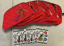 Lot of 5 Estee Lauder Red Printed Cosmetics Makeup Travel Bags w/Stickers