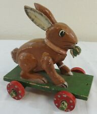Folky Carved & Painted Wooden Rabbit Child's Pull Toy Ca. 1910