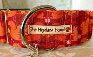 "1.5"" Orchard Squirrel Handmade Martingale Dog Collar Greyhound, Whippet, Lurcher"