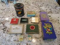 vintage tobacco tin and lighter  lot - Lucky Strike, Camel, Player Navy,