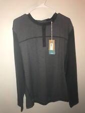 NWT prAna Men's Zylo Henley Shirt Charcoal Color Block XLarge - retail $79