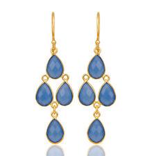 14K Gold Plated Handmade Dyed Aqua Chalcedony Bezel Set Dangle Earrings Jewelry