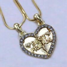 Best Friend Forever BFF Clear Stone Heart Pendant Necklace Clear Gold Tone Charm