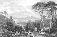 Italy, BAY OF NAPLES Mount Vesuvius Volcano ~ 1833 Landscape Art Print Engraving