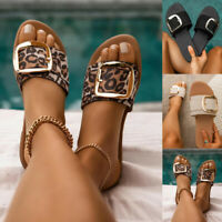 NEW LADIES FLAT WOMENS SUMMER FASHION BUCKLE SLIDERS SLIDES SANDALS SHOES SIZE