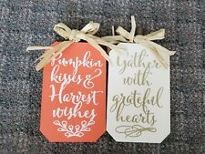 New Set of 2 Wooden Decor Sign - Pumpkin Kisses and Harvest Wishes - Gather With