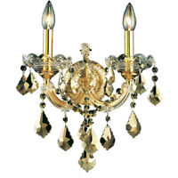 GOLD AND GOLDEN TEAK CRYSTAL WALL SCONCE BEDROOM LIVING DINING ROOM 2 LIGHT 16""