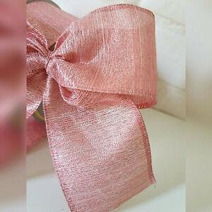 Luxury Pink Christmas Ribbon  Xmas Tree Sparkle Lurex Thread Stripe Bows Bow