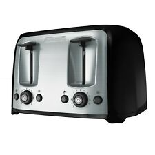 4-Slice Toaster with Extra-Wide Slots, Black/Silver, bagel Function, Extra Lift