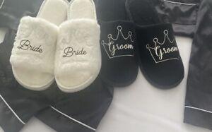 Wedding Personalised Slippers Bride, Bridesmaid Luxury Velour NAME/TXT COLOUR