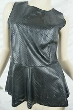 RIDERS by LEE black perforated leather look peplum singlet top size 10 BNWT