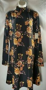 Mudd Black Floral Sueded High Neck Long Sleeve Fit & Flare Dress Junior's Large