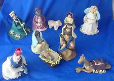 vintage 1970s claydough Christmas nativity set of 10 dough figures clay art