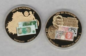 TWO 2010 ONE & FIFTY POUNDS GOLD PLATED MEDALS IN MINT CONDITION + CAPSULES