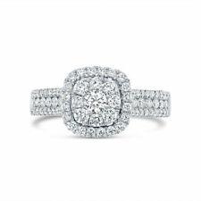 1.00 Ct Round Natural Diamond 14k White Gold Halo Engagement Ring