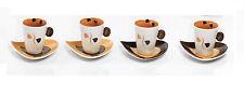 Set 4 tazzine/4 piattini caffè,6,5 cm in porcellana,Collezione Mandorle by Paben
