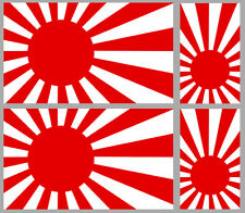 SET DE 4 STICKERS JAPAN AUTOCOLLANT BLASON JAPONAIS DRAPEAU FLAG JA053