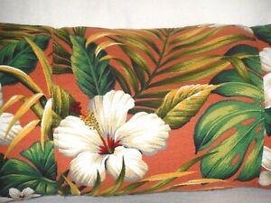 Tropical Hawaiian Cotton Barkcloth Fabric LUMBAR PILLOW ~Hibiscus Garden-Coral~
