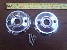 2 REPLACEMENT STAINLESS STEEL DOOR KNOB BACK PLATES 53 mm DIAMETER RIM LOCK ETC.
