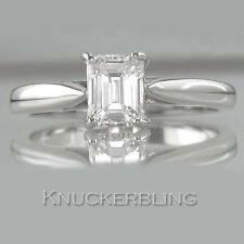 Emerald Shaped Very Good Cut Not Enhanced Fine Diamond Rings