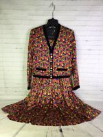 VTG Unique Bejeweled Colorful Blazer Jacket Matching Skirt Set Womens Size S M