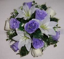 wedding flowers guest table decoration lilac & ivory roses & ivory  lilys gyp