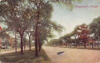 Chicago Illinois~Shade Trees Down Middle of Grand Blvd~1914 Postcard